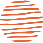 fleck brand mark, a circle with red uneven horizontal lines within it